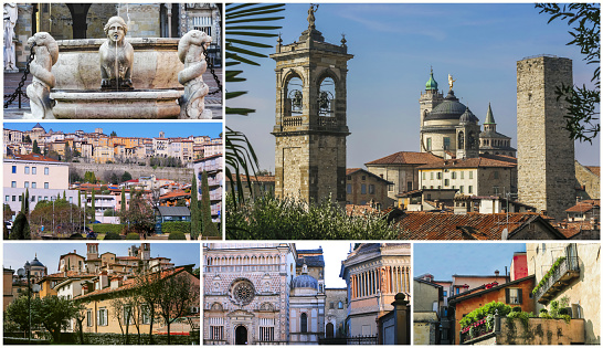 A collage of photos of the sights of Bergamo Italy