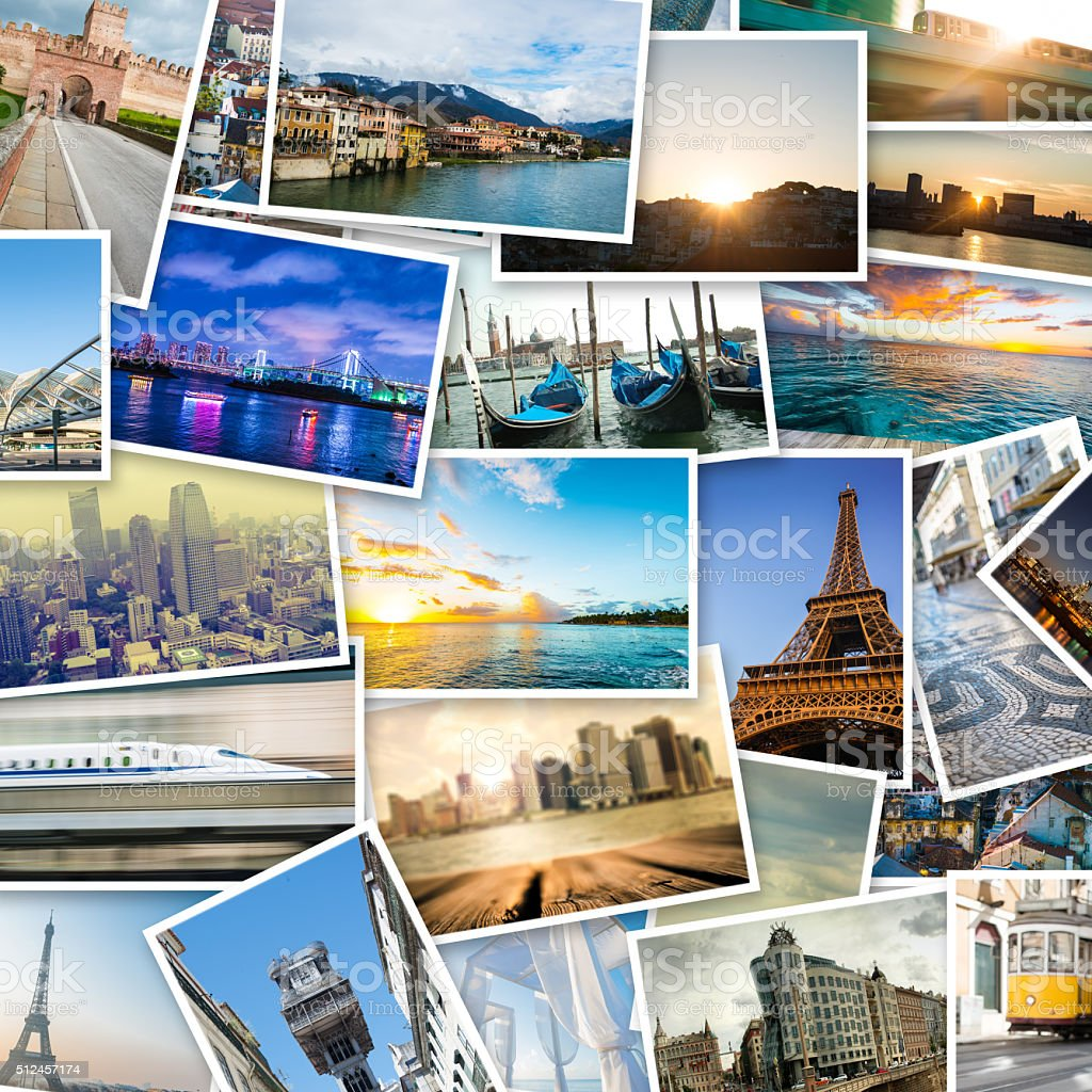 collage de photos avec de célèbres destinations de voyage - Photo