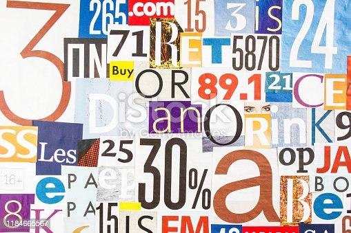 546439664 istock photo Collage of pieces of colorful gloss magazine paper with letters and numbers. 1184665567