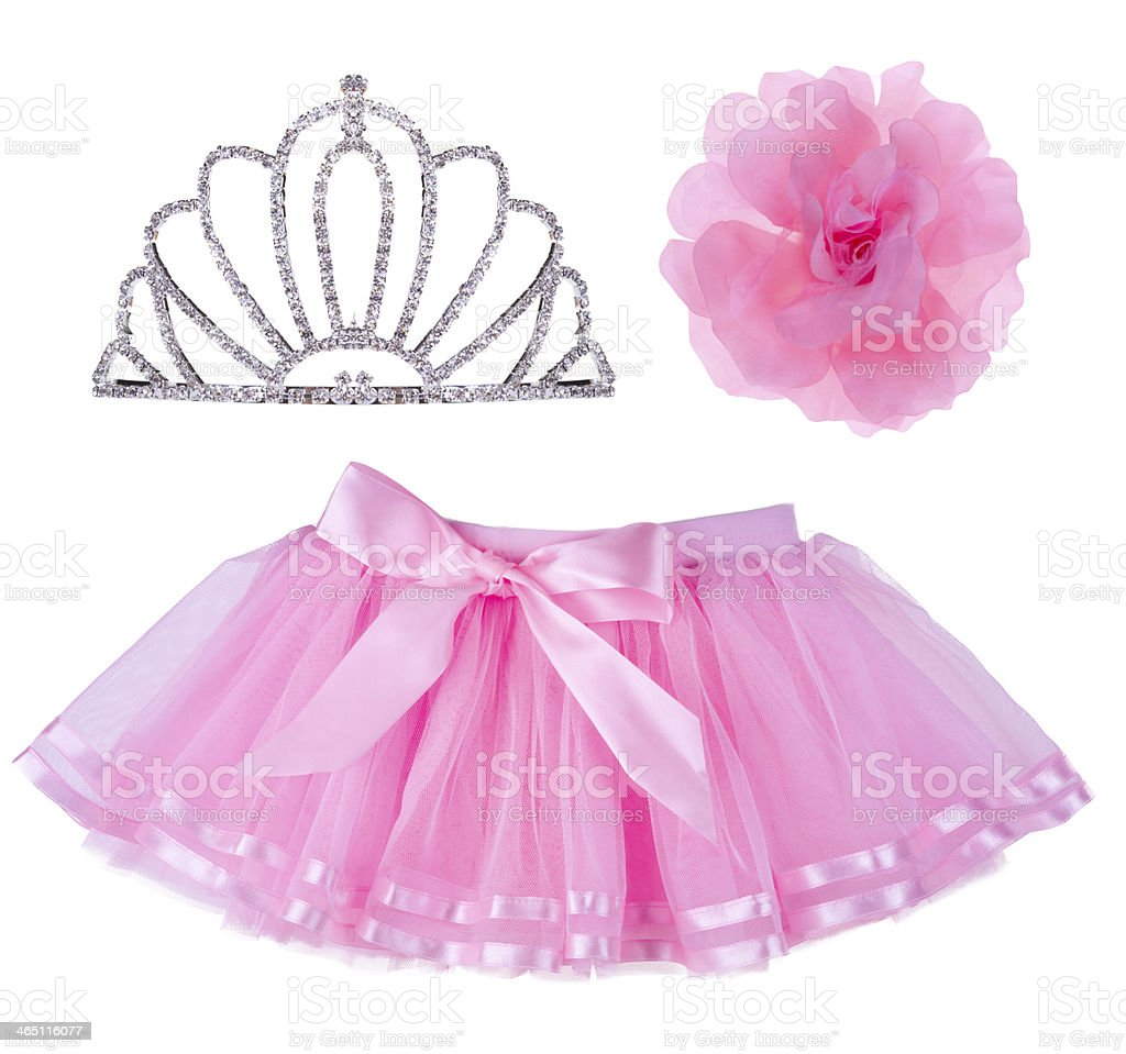 Collage of pink skirt for girl, crown and hair bow stock photo