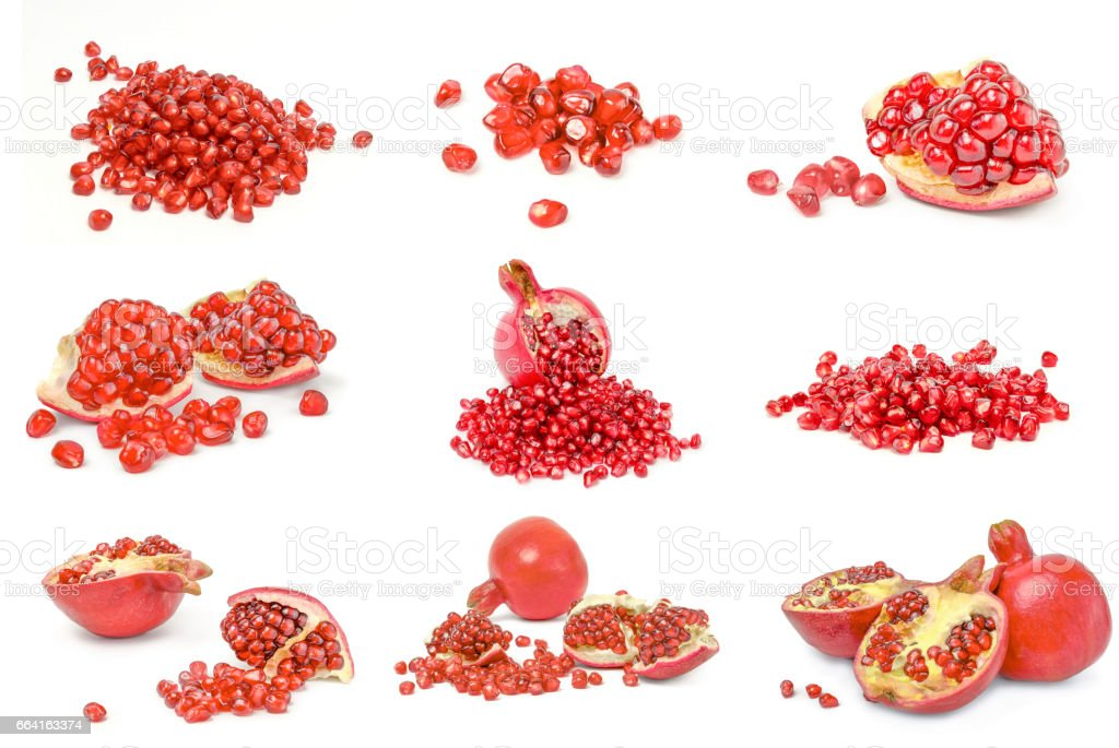 Collage of pomegranate on a isolated white background stock photo