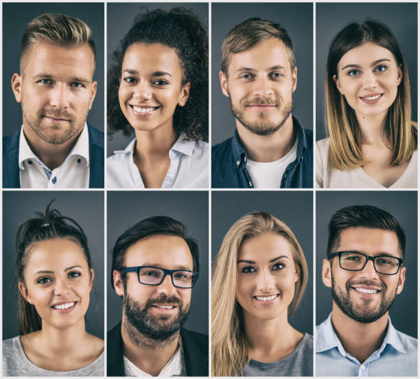 Collage of portraits ethnically diverse business people. stock photo