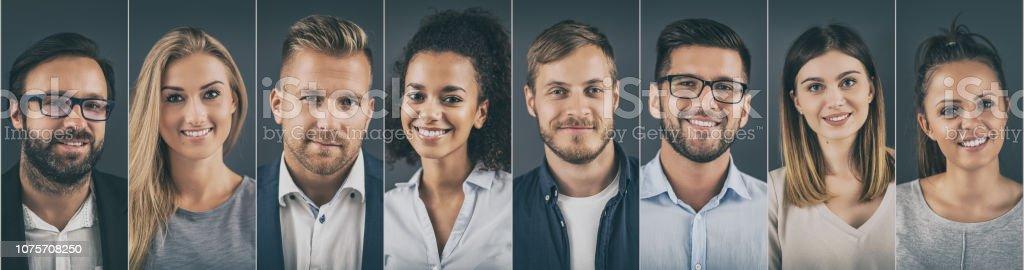 Collage von Porträts ethnisch Geschäftsleute. – Foto