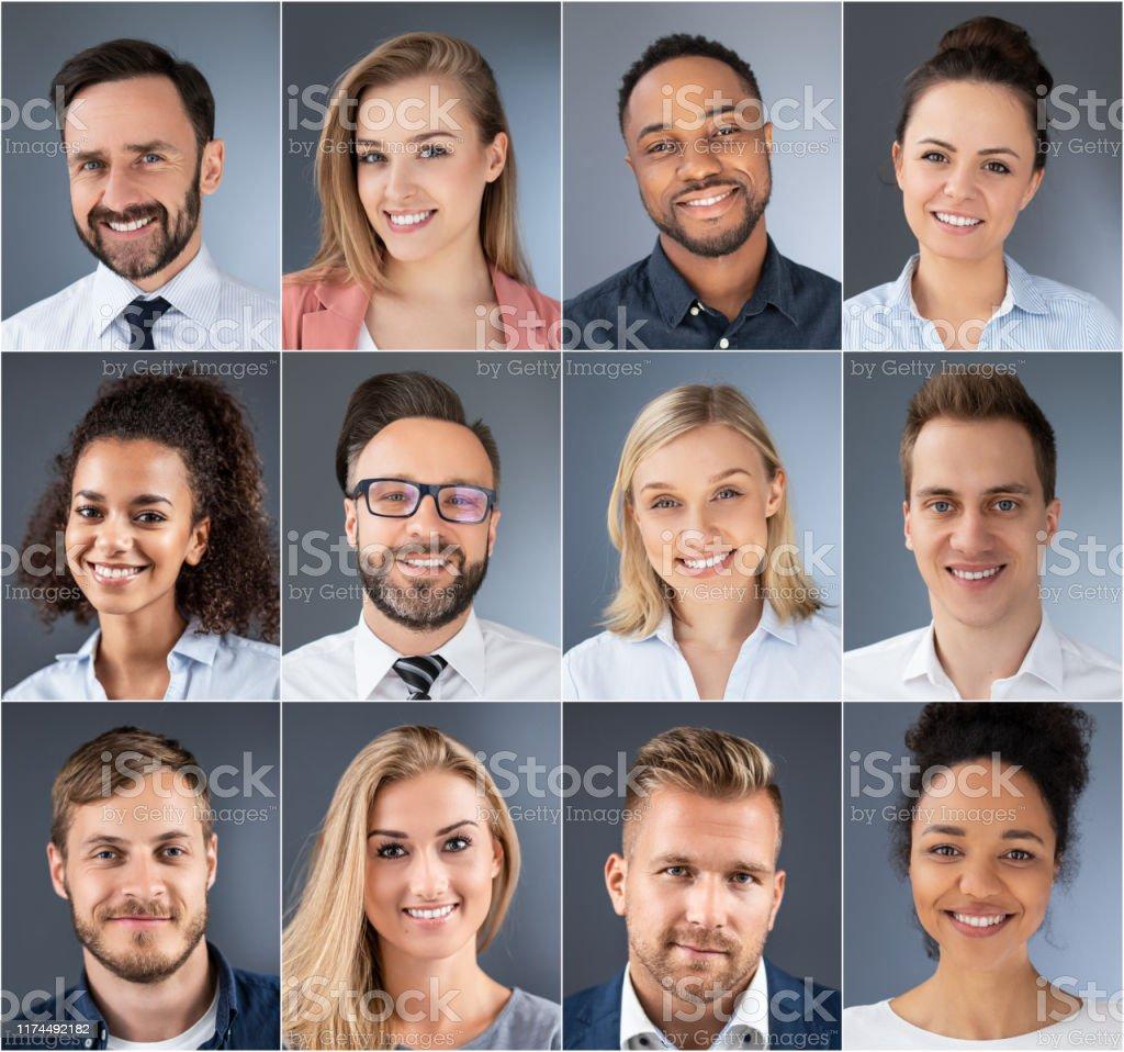 拼畫的肖像種族多樣的商人。 - 免版稅人圖庫照片
