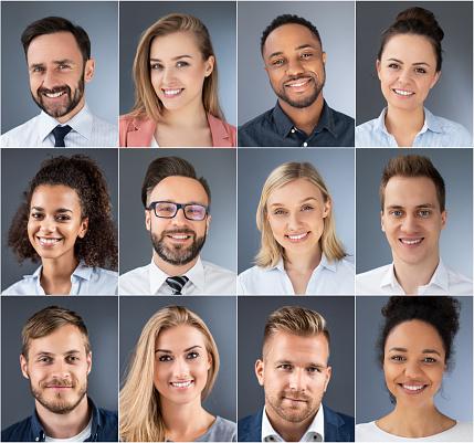 拼畫的肖像種族多樣的商人 照片檔及更多 人 照片