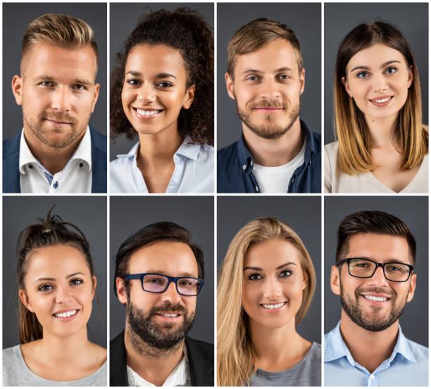 collage von porträts ethnisch unterschiedliche geschäftsleute. - scyther5 stock-fotos und bilder