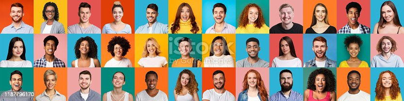 Collage of multiethnic happy people portraits on colored backgrounds, panorama