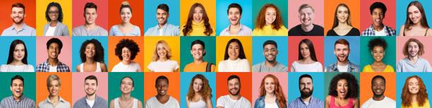 Collage von Porträts von multiethnischen glücklichen Menschen – Foto