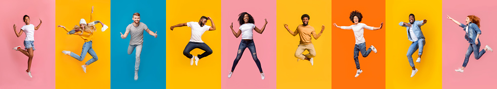 Collage of cheerful multiracial young people jumping over colorful backgrounds, panorama