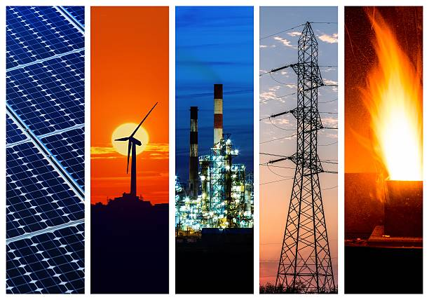 Collage of power and energy concepts stock photo
