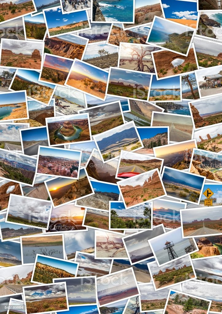 Collage of printed travel images . Concept Usa Travel memories stock photo