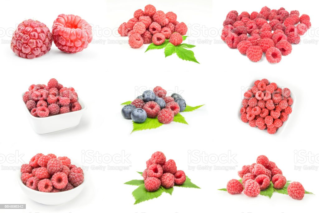 Collage of raspberries with leaves on a white background foto stock royalty-free