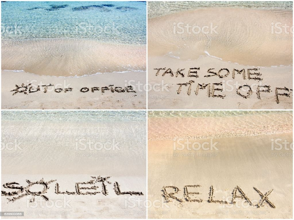 Collage of relaxation messages written on sand stock photo