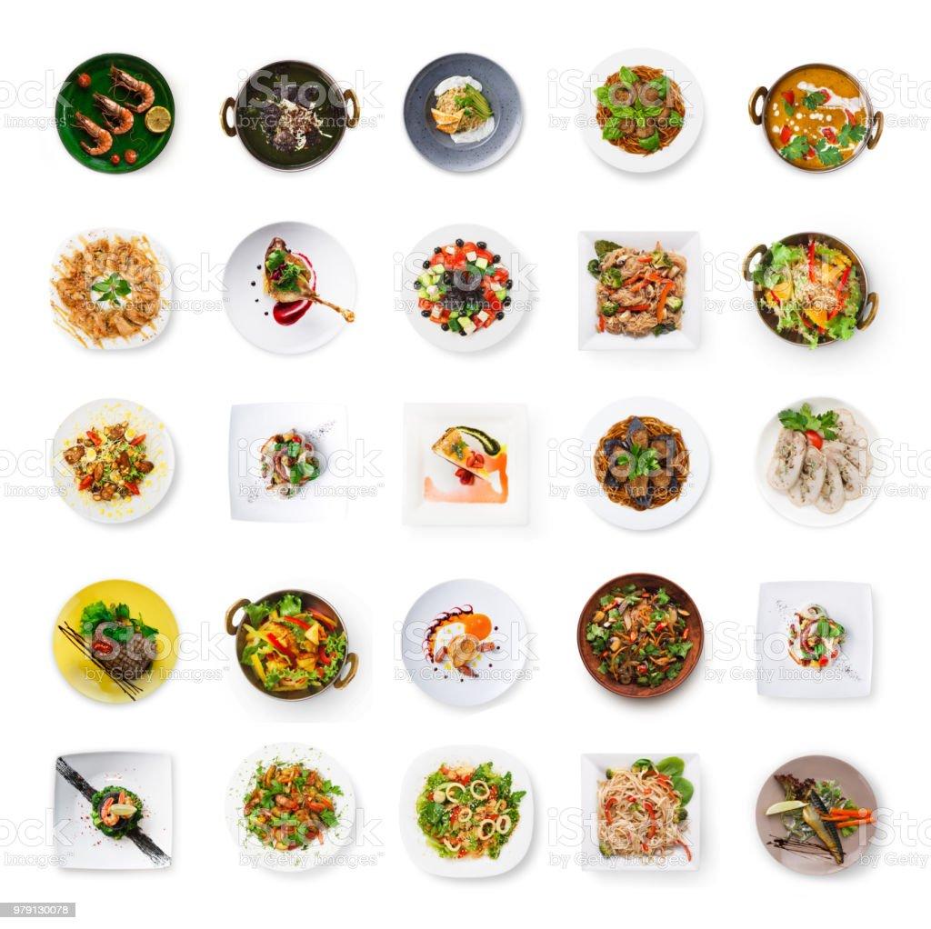 Collage von Restaurant Gerichte isoliert auf weiss – Foto