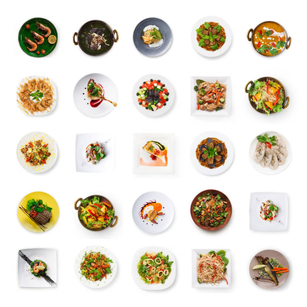 collage von restaurant gerichte isoliert auf weiss - käse wurst salat stock-fotos und bilder