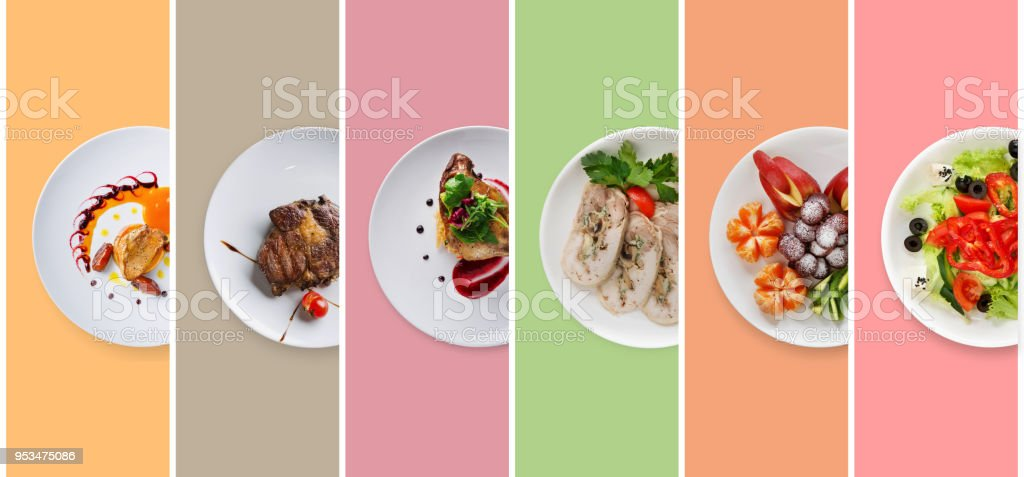 Collage of restaurant dishes on colorful background stock photo