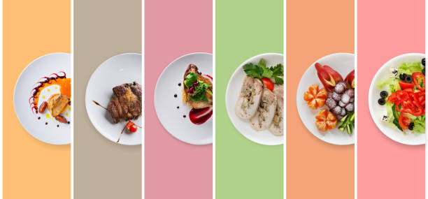 collage of restaurant dishes on colorful background - meat plate imagens e fotografias de stock