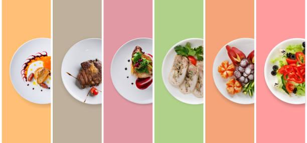 collage von restaurant gerichte auf farbigen hintergrund - gemüse zu fisch stock-fotos und bilder