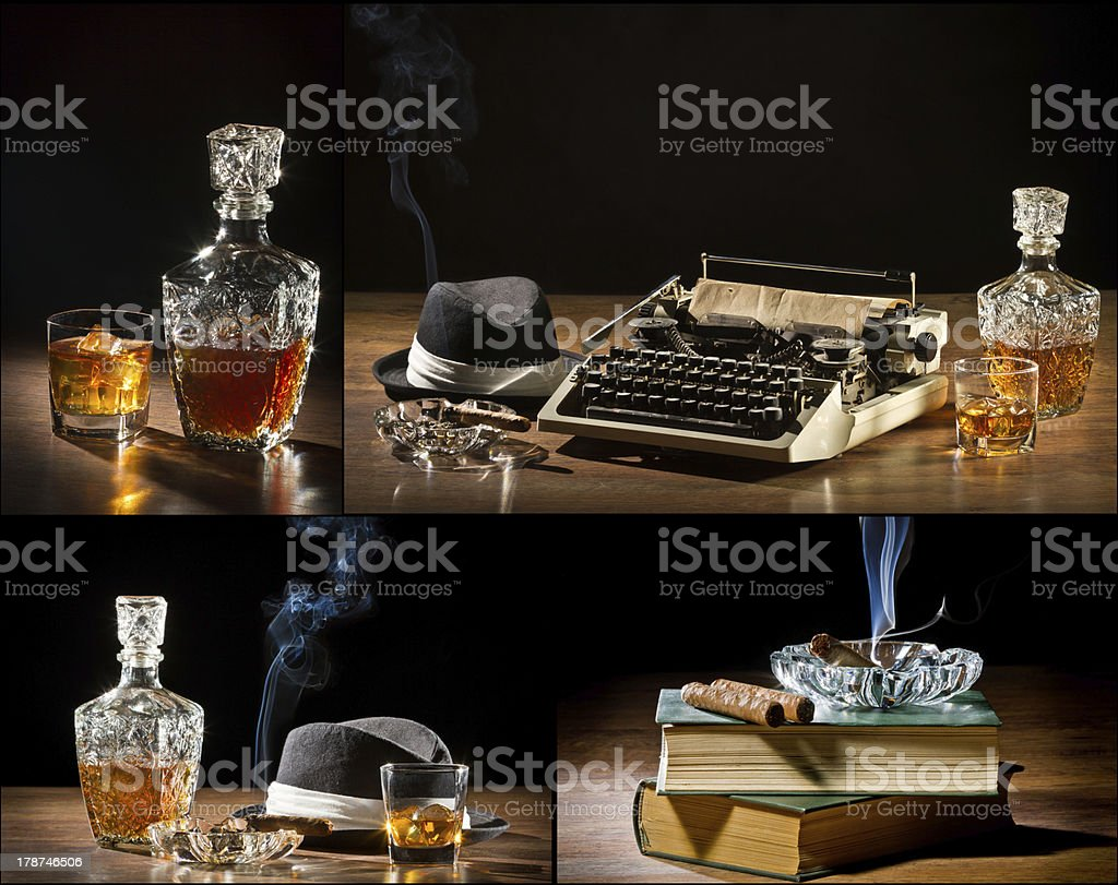 Collage of retro-Styled old typewriter, cigar, hat and whisky royalty-free stock photo