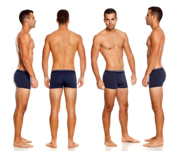 拼貼相同的無襯衫英俊男子在白色背景的內褲圖像檔