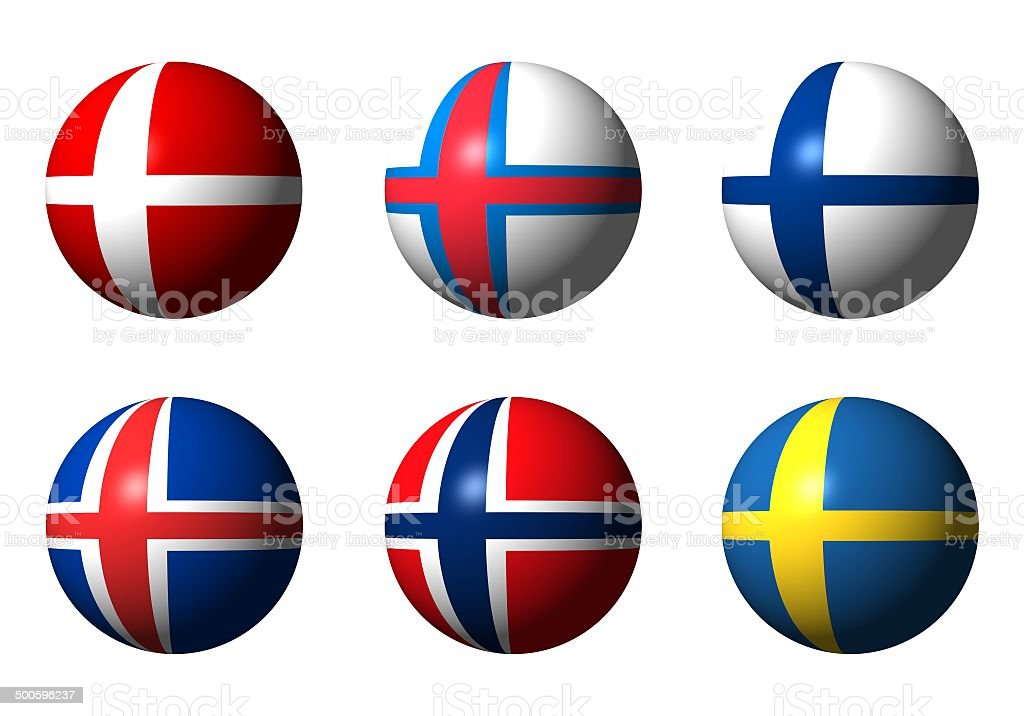 Collage of Scandinavian flags stock photo