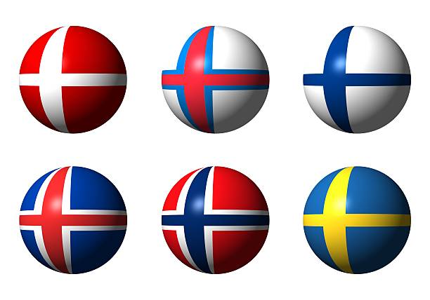 collage von skandinavischen flags - norwegen fahne stock-fotos und bilder