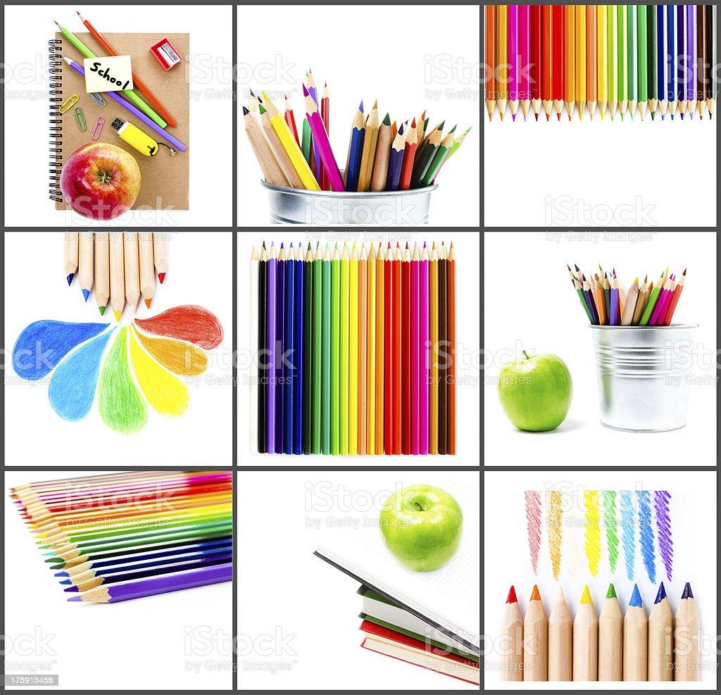 Kolaż szkoły i schoolchildren theme z kolorowych ołówków, – zdjęcie