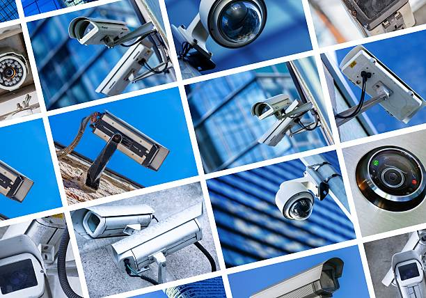 collage of security camera and urban video - big brother orwellian concept stock pictures, royalty-free photos & images