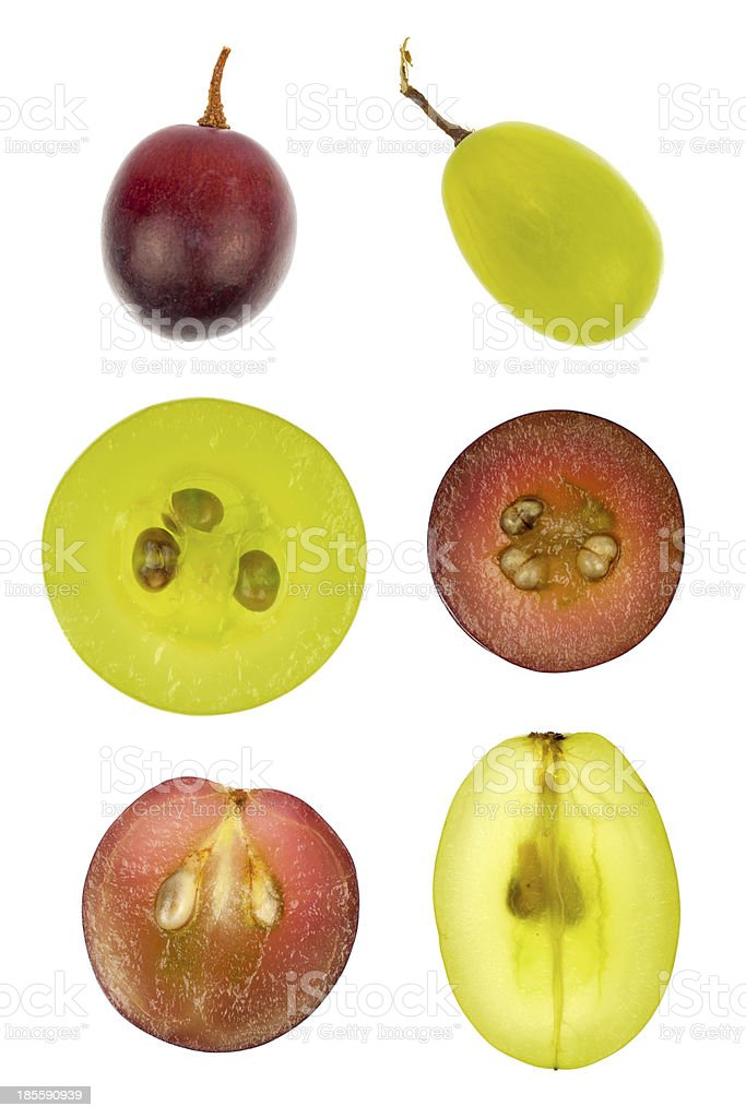 Collage of sliced red and green grapes stock photo