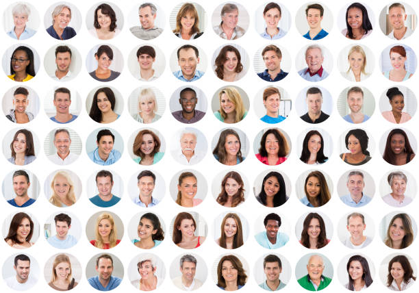 Collage Of Smiling People stock photo