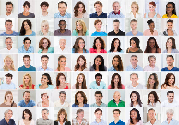 collage of smiling people - row of heads stock photos and pictures