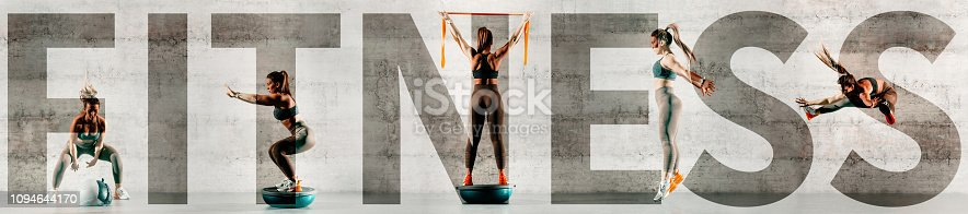 istock Collage of sporty woman doing various exercises. In background gray wall, copy space. Upper-case fitness over the picture. 1094644170