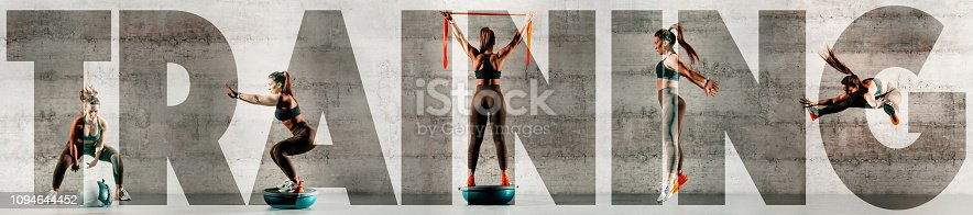 istock Collage of sporty woman doing various exercises. In background gray wall, copy space. Upper-case training over the picture. Part of series. 1094644452