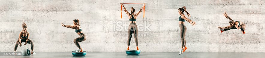 istock Collage of sporty woman doing various exercises. In background gray wall, copy space. 1097781346