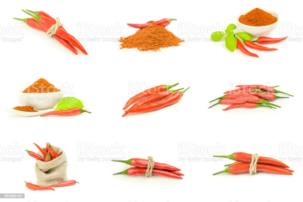 Collage of spur pepper over a white background foto stock royalty-free