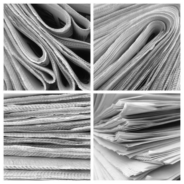 collage aus gestapelten zeitungen - kollagenblätter stock-fotos und bilder