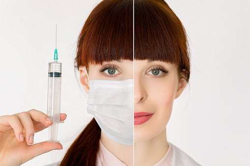 Collage of studio half face portraits of young woman doctor, wearing protective medical mask and holding syringe, and in white coat, looking at camera. Coronavirus, infections, medicine concept.