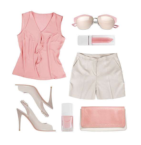 Collage of summer women clothes and accessories isolated on white Collage of summer women clothes and accessories isolated on white blouse stock pictures, royalty-free photos & images