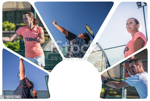 collage of tennis sport