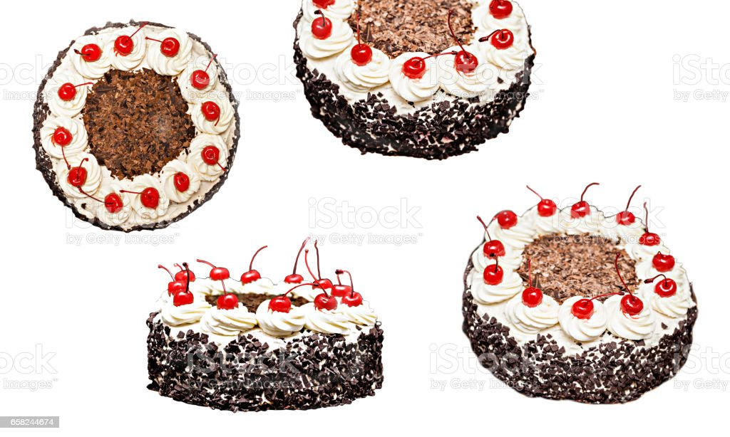 Collage of the Black Forest cake in different forms, isolated stock photo