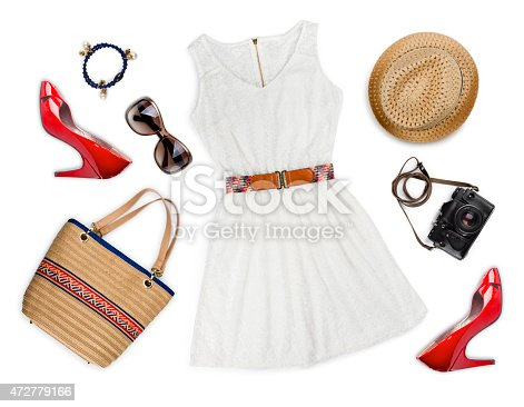 istock Collage of tourist clothing and accessories isolated on white 472779166