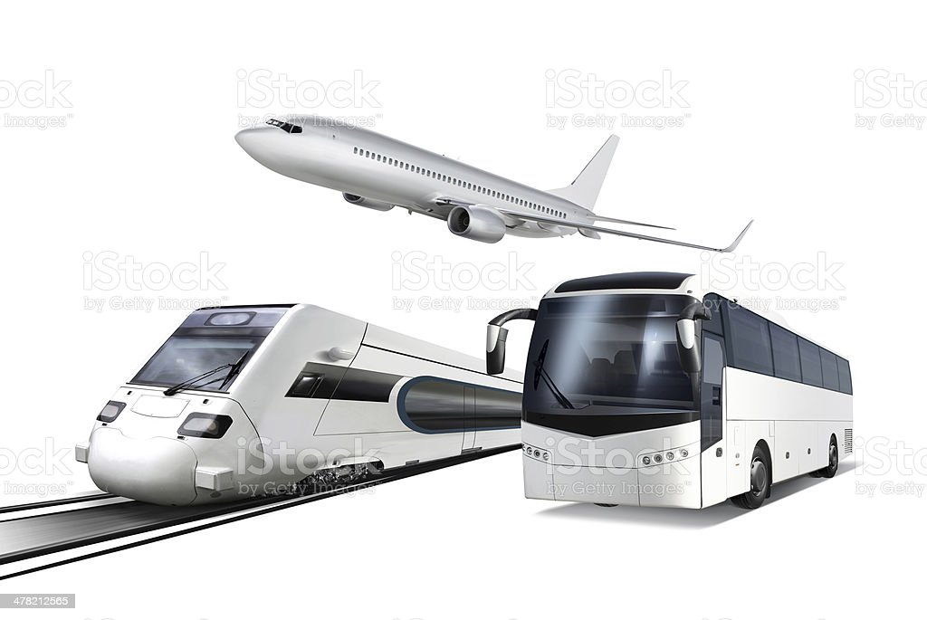Collage of transport stock photo