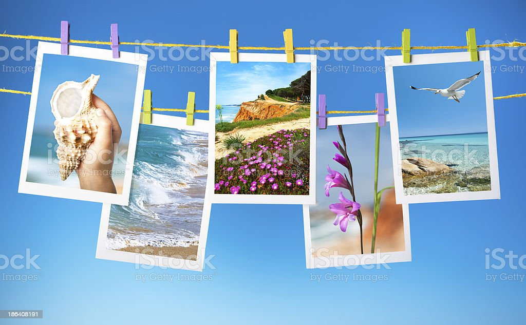 Collage of travel pictures hanging on ropes stock photo