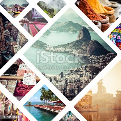 istock Collage of travell images - travel background 867353540