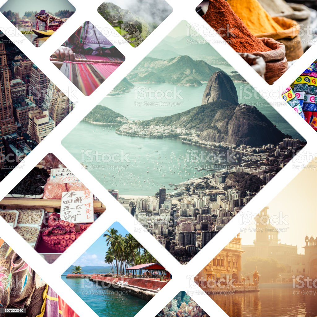 Collage of travell images - travel background stock photo