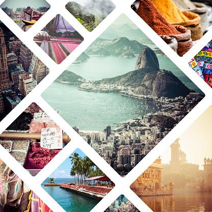 周遊圖像拼貼畫旅遊背景 照片檔及更多 亞洲 照片