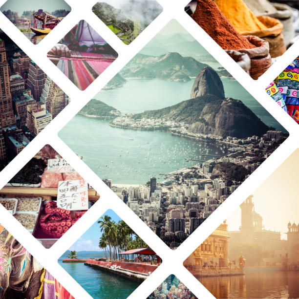collage of travell images - travel background - south america travel stock photos and pictures