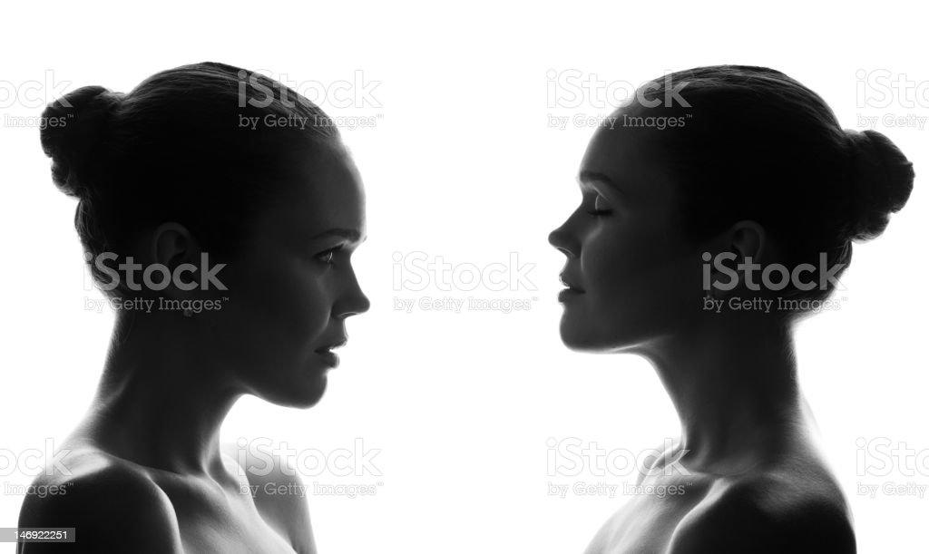collage de dos retrato foto de stock libre de derechos