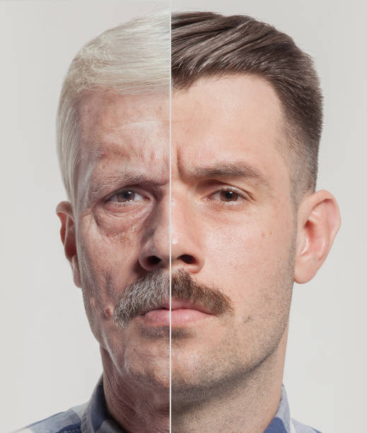Collage of two portraits of the same old man and young man. Face lifting, aging and skincare concept. Conparison stock photo