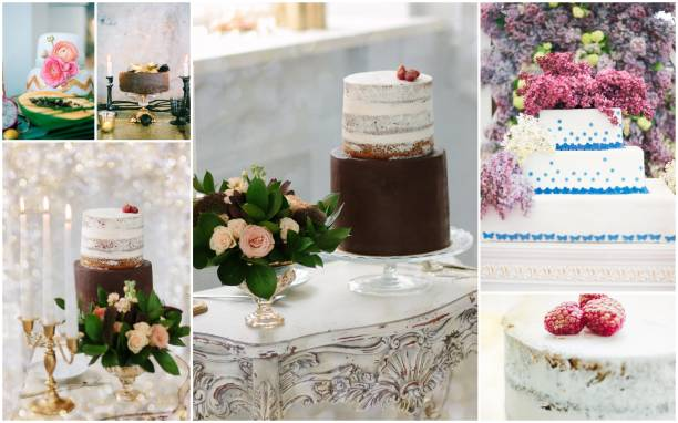 Collage of unusual and beautiful wedding cakes with flowers and berries. stock photo